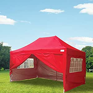 Quictent 3x4.5 Meter Red Pop Up Gazebo Canopy hipped roof Silver-coated Waterproof With Sidewalls and Bag