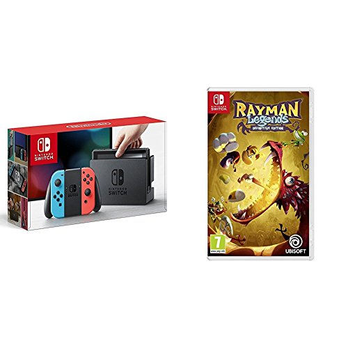 Nintendo Switch - Consola, color azul neón/rojo neón + Rayman Legend
