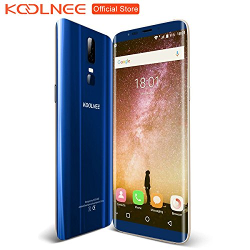 KOOLNEE K1 4G Smartphone sbloccato Full Screen 6,01 pollici 2160 x 1080 Pixel 18: 9 Android 7.0 MTK6750T 1,5 GHz Octa Core 4D display curvo 4 GB di RAM + 64 GB ROM, Dual Camera 2 MP + 16 MP, Batteria 3190mAh Dual SIM Scanner impronte digitali - Blu