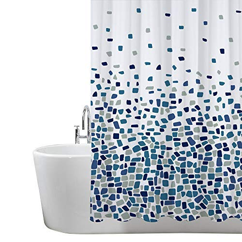 Duschvorhang, Badezimmer, Badewanne, Umweltfreundlich, Waschbarer, Anti-Schimmel, Anti-Bakteriell, Schimmelresistent Duschvorhang - Mosaik gemustert -Blau- 180 x 180 cm (71 x 71 Zoll) | 100% Polyester