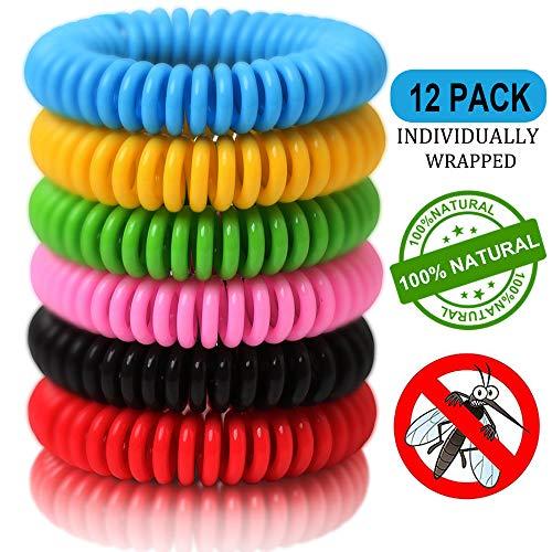 Masstimo Mückenschutz Armband (12 Stück) ,Moskito Armband,Mückenarmband Armbänder zum Schutz gegen Mücken Camping wandern Zubehör für Kinder und Erwachsene
