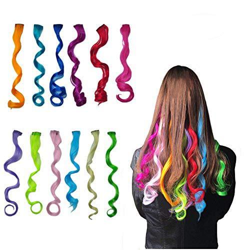 ngerungen Multi-Farben Party Highlight Clip auf Haar Salon Versorgung Curly Perücken für Frauen 50 cm / 20inch (12 pcs lockig) ()