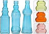 3er Set Deko Glasflasche Likörflasche Dekoflaschen Vase Apotheke Flasche Flakon Tisch Dekoration 5X17cm, 4 Farben erhältlich (Gemischt 1x 3er set)