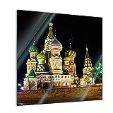 Glasbild - Basilius Kathedrale in Moskau - Russland - 50x50 cm - Deko Glas - Wandbild aus Glas - Bild auf Glas - Moderne Glasbilder - Glasfoto - Echtglas - Kein Acryl - Handmade