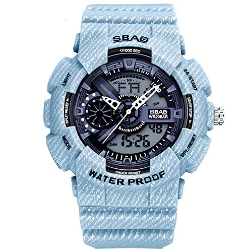 e2cdd805b6ed HWCOO SBAO Watch Student electronic watch denim pattern fashion men s  double display electronic watch ( Color