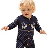 Kobay Unisex Neugeborenes Baby insgesamt Lange Ärmel Weihnachten Pullover Mantel Hirsch (Dunkelblau, 60 / 4 Monat)