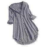 LOPILY Gestreifte Bluse Damen Verstellbare Ärmel Shirts aus Baumwolle V-Ausschnitt Oberteile Freizeit Tunika für Mollige Arbeitsbluse 46 Lässige Lose Tshirts Long Shirts Damen Herbst (Schwarz, 34)