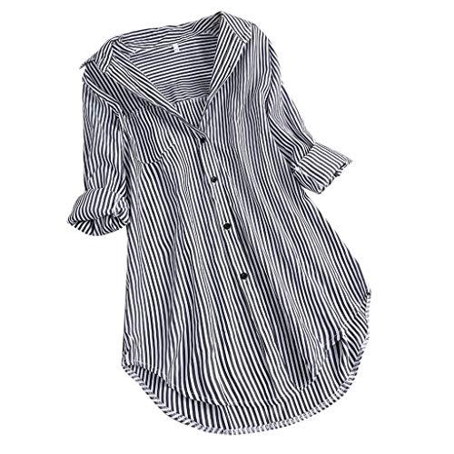 (TOPSELD T Shirt Damen, Frauen Chic Stripe Langarm Turn Down Kragen Knopf Lose Spitze Hemden Bluse)
