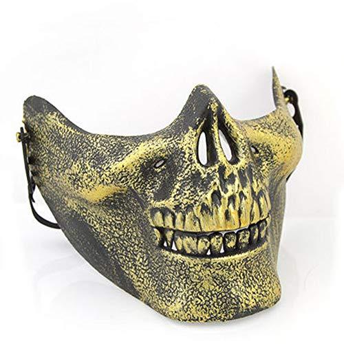 Starall Kunststoff Horror Schädel Kiefer Maske Terror Half Face Shied Menschliches Skelett Krieger Geist Maske für Halloween Party (Goldene Krieger Kostüm)