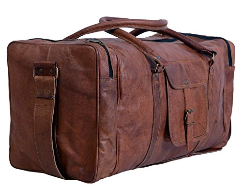 Antik Leder Gepäck (True Grit Diamantbesetzt Original Vintage braun Herren Leder Reisetasche Travel Duffel Tasche Gepäck Koffer)
