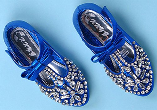 SMITHROAD Kinder Mädchen Prinzessin Schuhe Party Ballerinas Strasse Schleife T-Spange Halbschuhe Blau