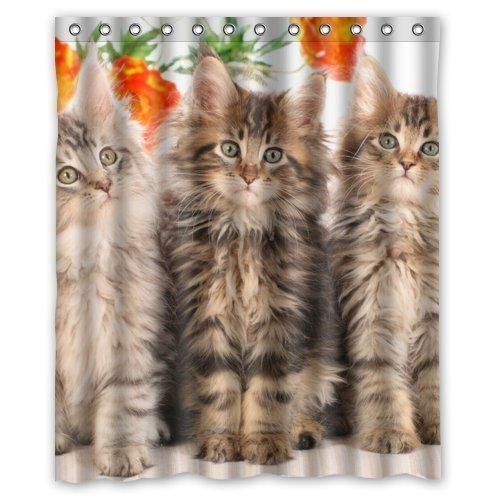 CHATAE Cute Baby Cat Kitty Funny Animal Lovely Pet Dusche Vorhang Badezimmer Dusche Vorhang Polyester Wasserdicht 152,4x 182,9cm von Hot Vorhang