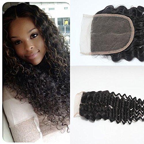 Romantic Angels® 16'' Free Part Bouclé Lace Closure 100% Réel Extensions de Cheveux Humains Cheveux (4\\
