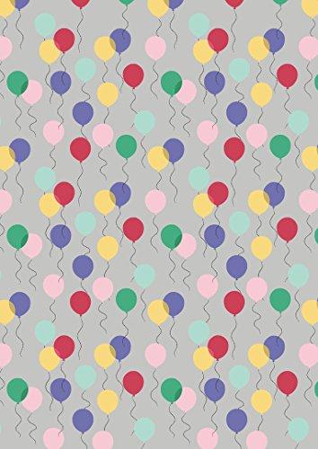 Luftballons lew61Stoff grau–April Showers von Lewis und Irene–100% Baumwolle–0,5m–Pink Blau Grün Gelb auf grauen Hintergrund Stoff (April Showers-stoff)