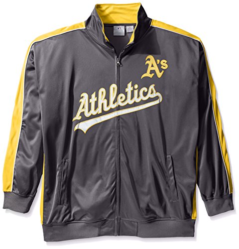 MLB Oakland Athletics Herren Team Reflektierende Tricot Track Jacket, 5 X, anthrazit/gold (Track Jacket Charcoal)