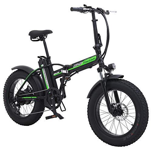 Shengmilo 500W Elektrofahrräder Elektrische Faltbare Fahrrad Mountain Snow E-Bike Rennrad, 4 Zoll Fettreifen, Shimano 7 Variable Geschwindigkeit (SCHWARZ)