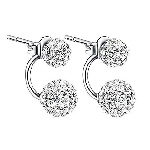 ZPXLGW S925 Sterling Silver White Diamond Perles à Double Face Perles Boucles D'oreilles à Double Usage Boule De