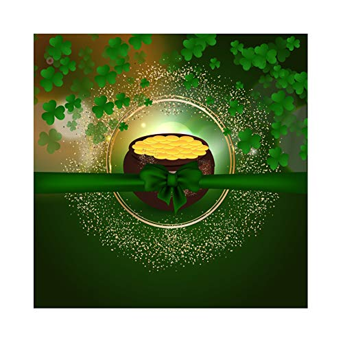 yl St. Patrick's Day Fotohintergrund Glücklicher Shamrock Irischer Klee Gold Pot Bow Sequins Fotoleinwand Hintergrund für Fotostudio Requisiten Party Photo Boot ()