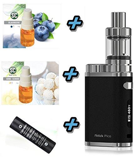 E-Zigarette SC produced by Eleaf Pico iStick 75W Starterset 2600mAh   TC (Temperaturregelung) mit Keepower Akku   mit SC Liquids - 00mg Rauchen ohne Nikotin