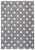 Livone Sternenteppich Kinderzimmer Baby Jugendteppich Kinderteppich mit Sternen in Silber grau Weiss Größe 100 x 150 cm