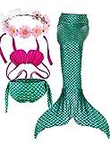 2018 estate della sirena ultimo Stile di nuoto ragazza Coda Costume Da Bagno Di 3 Confortevoli Bikini Materiale tuta Libera invia corona bella (XL (9-11), Verde)