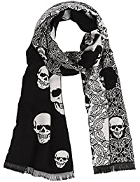 Landisun Men's Winter Warm Long Soft Elegant Classical Tassels Scarf Shawl Skull (Black White)