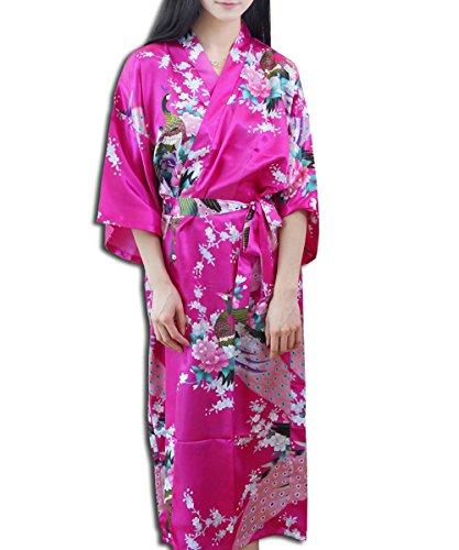 KAXIDY Robe de Nuit Robe de Chambre Femme Vêtements de Nuit et Peignoirs Pyjama Peignoir Rose Rouge