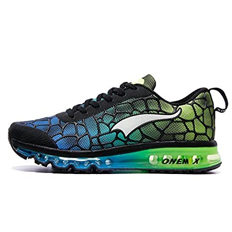 Onemix Air Baskets Chaussures Jogging Course Gym Fitness Sport Lacet Sneakers Style Running Multicolore Respirante Homme Bleu vert Taille 43