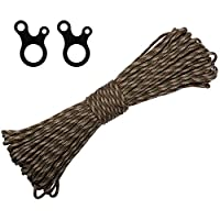 Morric Premium Polyester Accessory Cord 4mm Pre Cut Smooth Braid Rope Parachute 550 Paracord with 2 pcs buckles Survival Gear for Camping Outdoor Hiking Wristband Bracelet Forest Camouflage