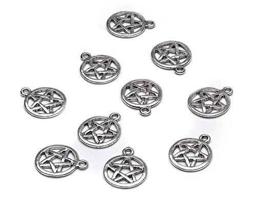 MOON HA08870 - Charming Beads - Pack of 50+ Antique Silver Tibetan 17mm Charms