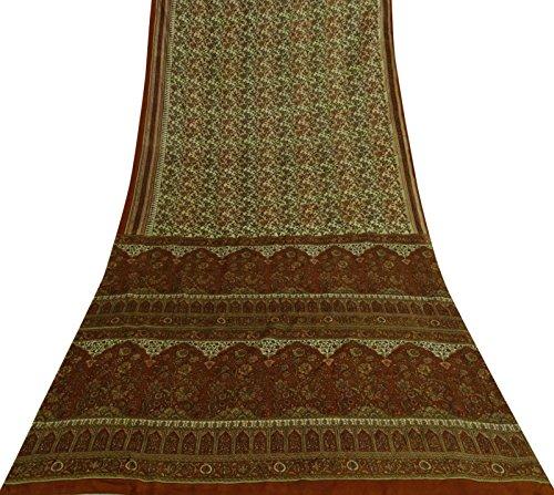 Sari Aus Reiner Seide (Vintage indische Blumenmuster aus reiner Seide Saree Gebrauchte Beige Sari Craft Fabric)