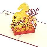 Medigy 3D POP UP Grußkarte Handgemacht Blume Korbp Schöne Pferde Blanko-Karten Segen Papier Klappkarten Business Geschenkkarte Glückwunschkarten