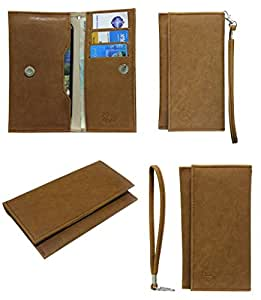 J Cover A5 Nillofer Leather Wallet Universal Pouch Cover Case For Lava P7 Plus Tan