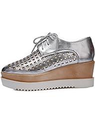 AllhqFashion Mujeres Material Suave Puntera Cuadrada Tacón Medio Zapatos de Tacón