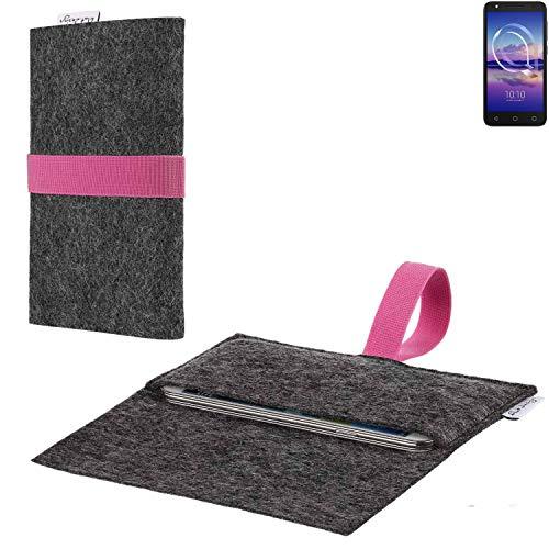 flat.design vegane Handy Hülle Aveiro für Alcatel U5 HD Single SIM passgenaue Filz Tasche Case Sleeve Made in Germany