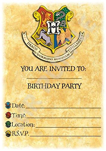 Harry Potter Geburtstag Party lädt–Hogwarts Crest Buchstabe Thema Party Deko/Zubehör (12Stück A5Einladungen) WITH Envelopes