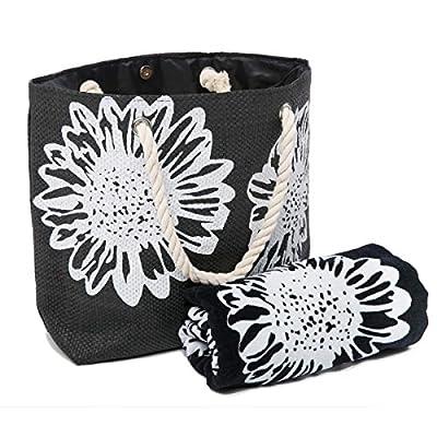 Beach Bag for Women 46 x 33 CMS PLUS Beach Towel Set Summer Tote Bags 100% Cotton Towels75 x150 cms Floral Pattern (TOWEL+BAG) - totes