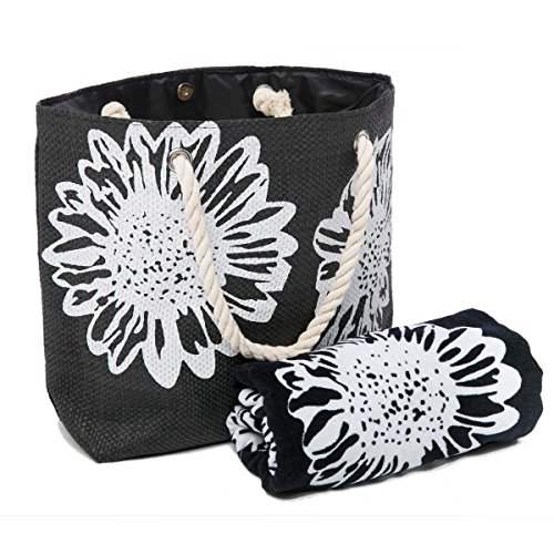 Von Handtücher Schwarzen Satz (Strandtasche Damen UND Strandtuch Satz Schultertasche Shopper Sommer Tasche Baumwolle-Strandtuch Blume Muster Airee Fairee)