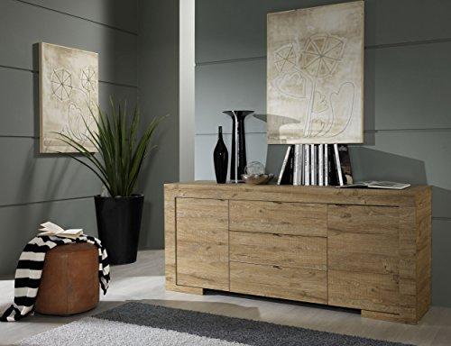 Honig Eiche Buffet (Sideboard Milano 2-türig und 3 Schubkasten 191 x 83 x 51 cm, Eiche Cleaf Honig Nachbildung)