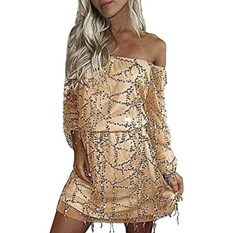 Womens Holiday Off Shoulder Beads Mini-robe Fille Fami Ladies Robe manches longues (S)