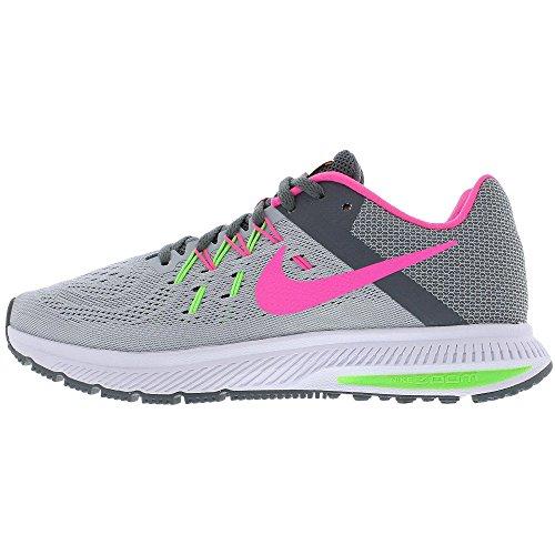 Nike - Wmns Zoom Winflo 2, Scarpe sportive Donna Gris (Wlf Gry / Pnk Blst Drk Gry Elctr)
