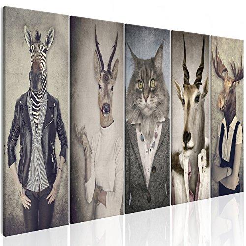decomonkey Bilder Natur 200x80 cm 5 Teilig Leinwandbilder Bild auf Leinwand Vlies Wandbild Kunstdruck Wanddeko Wand Wohnzimmer Wanddekoration Deko Retro Vintage Menschen Zebras Hirsche Tiere Katzen