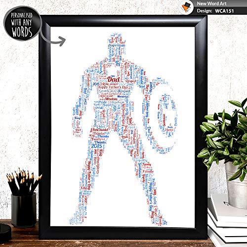 (Captain America Wort Kunst Poster Druck für Jede Papa, Vatertag oder Weihnachtsgeschenk, Bilderrahmen Upgrade Optionen)