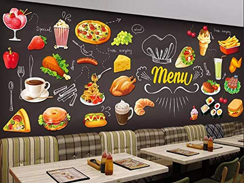 Minyose Custom 3d Wallpaper HD Hand Painted Burger Pizza Western Restaurant Cafe Wallpaper mural 3d wallpaper-300cmx210cm Red Brick Pizza