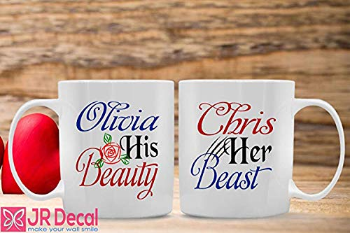 Beauty and the Beast Personalised Name Ceramic Mugs for Couple, Family, Love, His Beauty and Her Beast with Custom name, Coffee Mugs, Tea Cup -