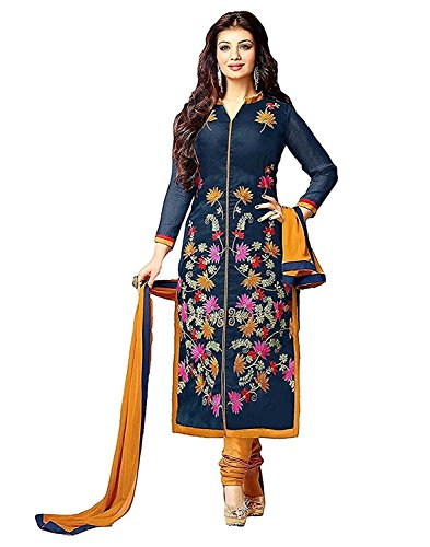 Queen of India Women's Cotton Readymade Anarkali Suit Free Size (Beige)
