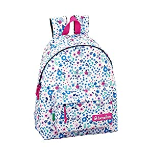 51zpc6WhXiL. SS300  - Day Pack Infantil Benetton UCB In Bloom White Oficial 330x150x420mm