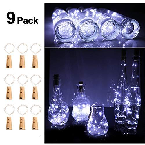 9x 20 LED Flaschenlicht, Weinflasche Flaschenlicht Kork Flaschen Licht LED Lichter Lichterkette Flaschen DIY- Flaschen Lichter für Hochzeit Party Romantische Deko,Kaltes Weiss-9 Stück -