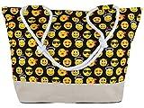 Black Out Emoji Emoticon große Shopper Tasche Handtasche Henkeltasche