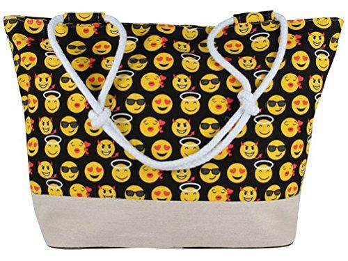 emoji tasche Black Out Emoji Emoticon große Shopper Tasche Handtasche Henkeltasche